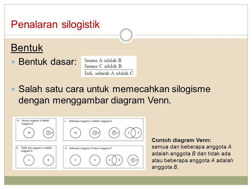 Bentuk Bentuk dasar: Salah satu cara untuk memecahkan silogisme dengan menggambar diagram Venn. Penalaran silogistik Contoh diagram Venn: semua dan be