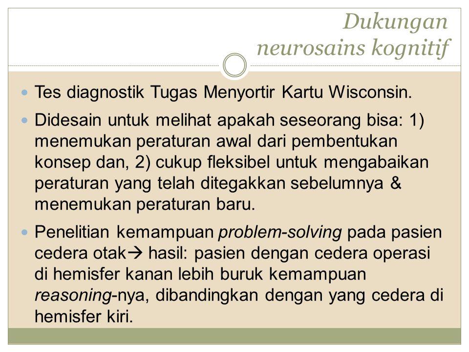 Dukungan neurosains kognitif Tes diagnostik Tugas Menyortir Kartu Wisconsin. Didesain untuk melihat apakah seseorang bisa: 1) menemukan peraturan awal