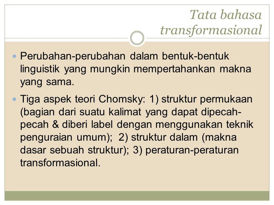 Tata bahasa transformasional Perubahan-perubahan dalam bentuk-bentuk linguistik yang mungkin mempertahankan makna yang sama. Tiga aspek teori Chomsky: