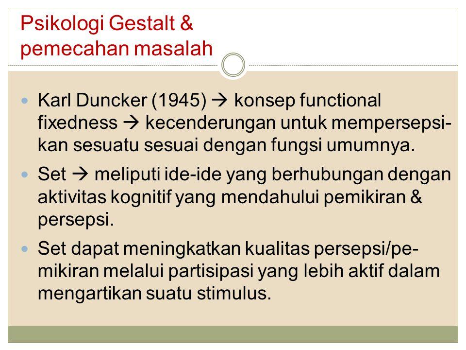 Psikologi Gestalt & pemecahan masalah Karl Duncker (1945)  konsep functional fixedness  kecenderungan untuk mempersepsi- kan sesuatu sesuai dengan f