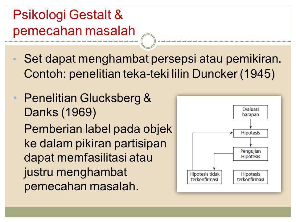 Psikologi Gestalt & pemecahan masalah Set dapat menghambat persepsi atau pemikiran. Contoh: penelitian teka-teki lilin Duncker (1945) Penelitian Gluck
