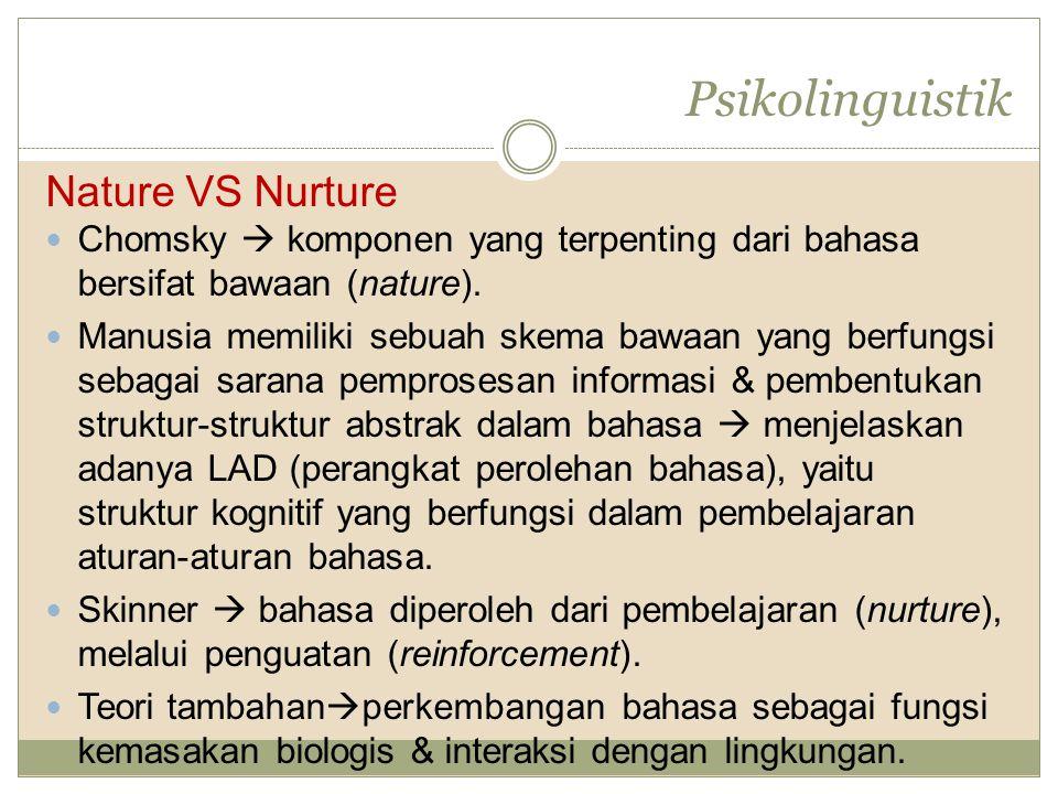 Nature VS Nurture Chomsky  komponen yang terpenting dari bahasa bersifat bawaan (nature). Manusia memiliki sebuah skema bawaan yang berfungsi sebagai