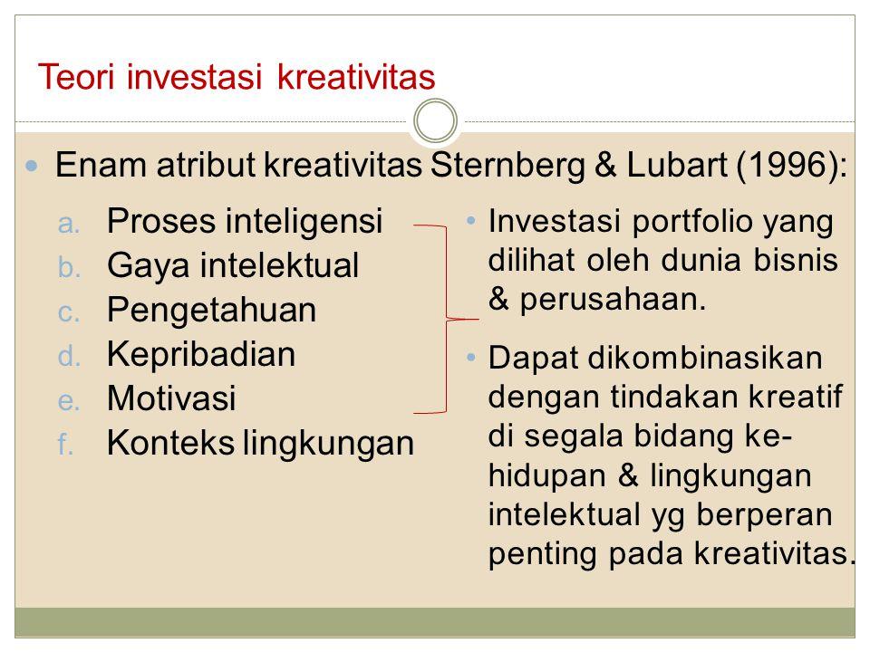 Teori investasi kreativitas Enam atribut kreativitas Sternberg & Lubart (1996): a. Proses inteligensi b. Gaya intelektual c. Pengetahuan d. Kepribadia