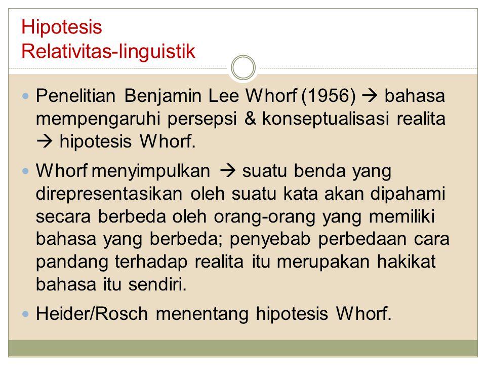 Hipotesis Relativitas-linguistik Penelitian Benjamin Lee Whorf (1956)  bahasa mempengaruhi persepsi & konseptualisasi realita  hipotesis Whorf. Whor