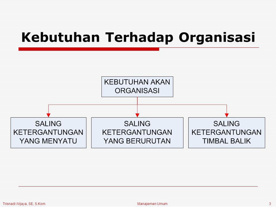 Trisnadi Wijaya, SE, S.Kom Manajemen Umum3 Kebutuhan Terhadap Organisasi