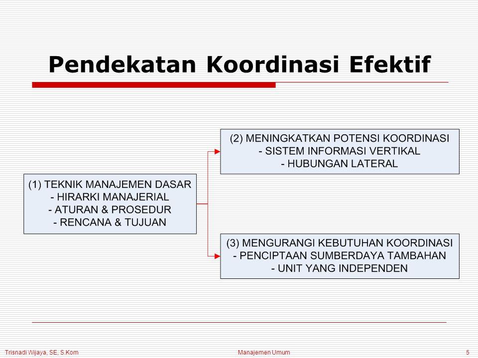 Trisnadi Wijaya, SE, S.Kom Manajemen Umum5 Pendekatan Koordinasi Efektif