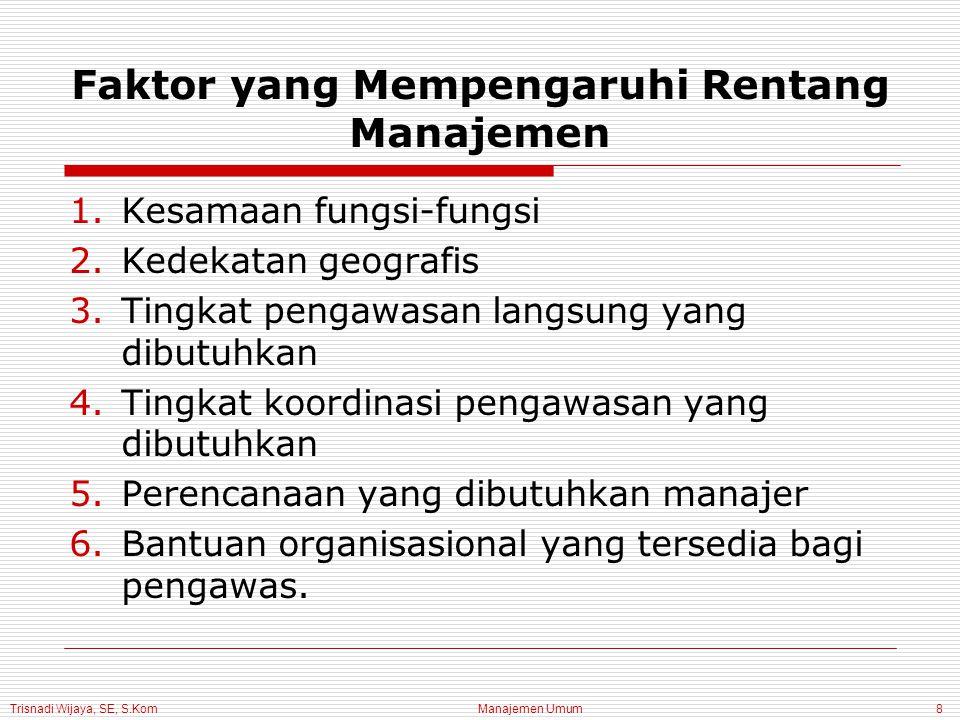 Trisnadi Wijaya, SE, S.Kom Manajemen Umum8 Faktor yang Mempengaruhi Rentang Manajemen 1.Kesamaan fungsi-fungsi 2.Kedekatan geografis 3.Tingkat pengawasan langsung yang dibutuhkan 4.Tingkat koordinasi pengawasan yang dibutuhkan 5.Perencanaan yang dibutuhkan manajer 6.Bantuan organisasional yang tersedia bagi pengawas.