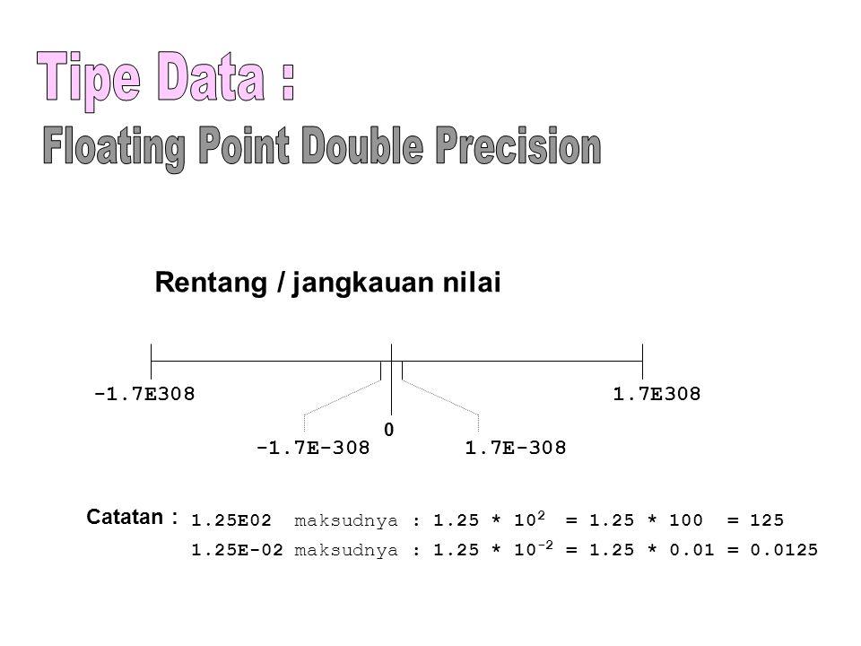 Rentang / jangkauan nilai Catatan : 1.25E02 maksudnya : 1.25 * 10 2 = 1.25 * 100 = 125 1.25E-02 maksudnya : 1.25 * 10 -2 = 1.25 * 0.01 = 0.0125 -1.7E3081.7E308 0 1.7E-308-1.7E-308