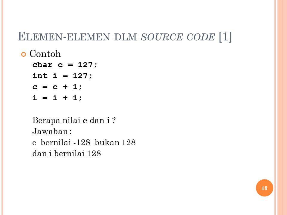 E LEMEN - ELEMEN DLM SOURCE CODE [1] Contoh char c = 127; int i = 127; c = c + 1; i = i + 1; Berapa nilai c dan i .