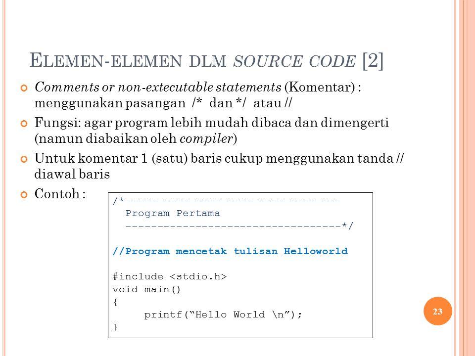 E LEMEN - ELEMEN DLM SOURCE CODE [2] Comments or non-extecutable statements (Komentar) : menggunakan pasangan /* dan */ atau // Fungsi: agar program lebih mudah dibaca dan dimengerti (namun diabaikan oleh compiler ) Untuk komentar 1 (satu) baris cukup menggunakan tanda // diawal baris Contoh : 23 /*---------------------------------- Program Pertama ----------------------------------*/ //Program mencetak tulisan Helloworld #include void main() { printf( Hello World \n ); }