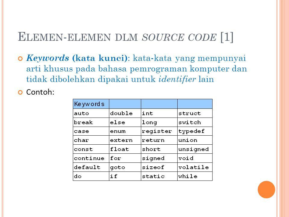 Keywords (kata kunci) : kata-kata yang mempunyai arti khusus pada bahasa pemrograman komputer dan tidak dibolehkan dipakai untuk identifier lain Contoh: