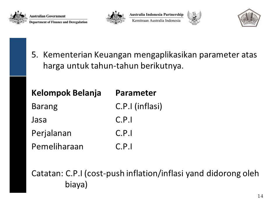 14 5.Kementerian Keuangan mengaplikasikan parameter atas harga untuk tahun-tahun berikutnya.