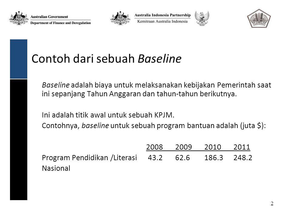 2 Contoh dari sebuah Baseline Baseline adalah biaya untuk melaksanakan kebijakan Pemerintah saat ini sepanjang Tahun Anggaran dan tahun-tahun berikutnya.