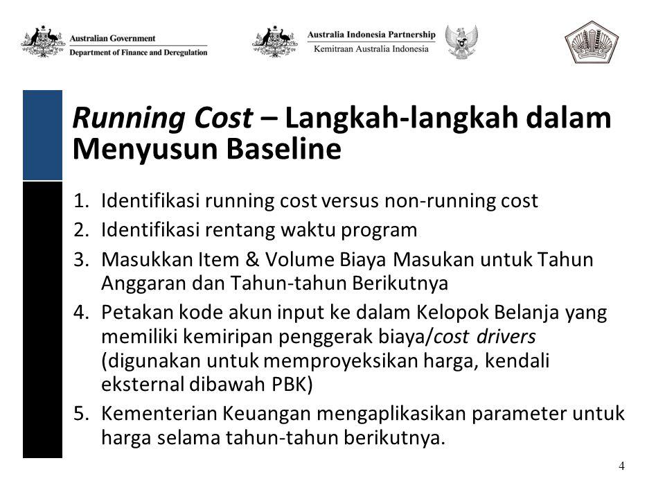 4 Running Cost – Langkah-langkah dalam Menyusun Baseline 1.Identifikasi running cost versus non-running cost 2.Identifikasi rentang waktu program 3.Masukkan Item & Volume Biaya Masukan untuk Tahun Anggaran dan Tahun-tahun Berikutnya 4.Petakan kode akun input ke dalam Kelopok Belanja yang memiliki kemiripan penggerak biaya/cost drivers (digunakan untuk memproyeksikan harga, kendali eksternal dibawah PBK) 5.Kementerian Keuangan mengaplikasikan parameter untuk harga selama tahun-tahun berikutnya.