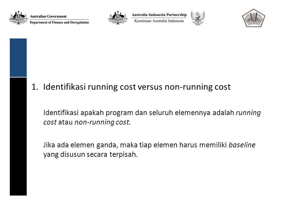 1.Identifikasi running cost versus non-running cost Identifikasi apakah program dan seluruh elemennya adalah running cost atau non-running cost.