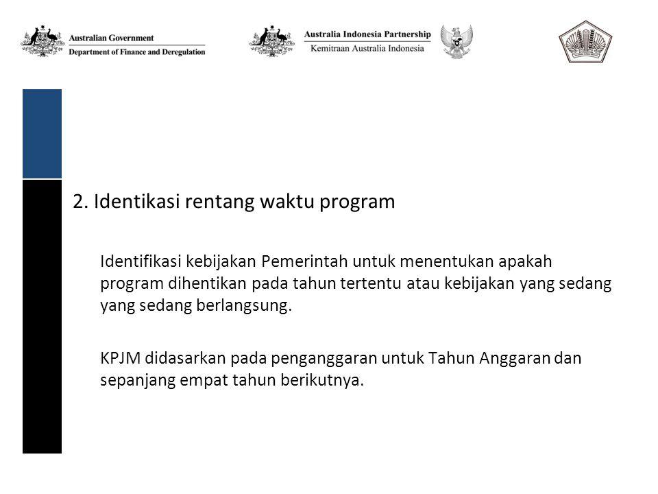 2. Identikasi rentang waktu program Identifikasi kebijakan Pemerintah untuk menentukan apakah program dihentikan pada tahun tertentu atau kebijakan ya