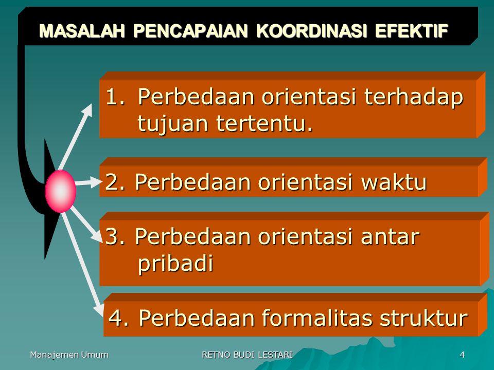 Manajemen Umum RETNO BUDI LESTARI 5 3 PENDEKATAN KOORDINASI EFEKTIF