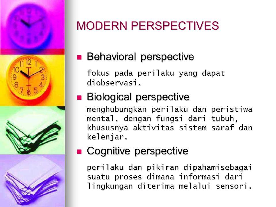 MODERN PERSPECTIVES Behavioral perspective Behavioral perspective fokus pada perilaku yang dapat diobservasi. Biological perspective Biological perspe