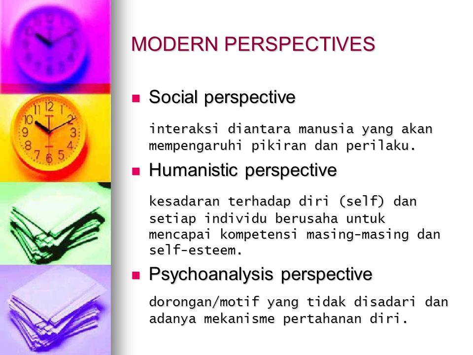 MODERN PERSPECTIVES Social perspective Social perspective interaksi diantara manusia yang akan mempengaruhi pikiran dan perilaku. Humanistic perspecti