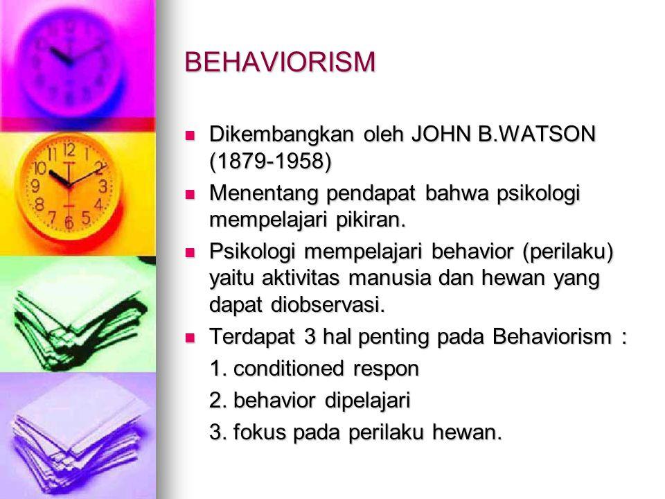BEHAVIORISM Dikembangkan oleh JOHN B.WATSON (1879-1958) Dikembangkan oleh JOHN B.WATSON (1879-1958) Menentang pendapat bahwa psikologi mempelajari pik