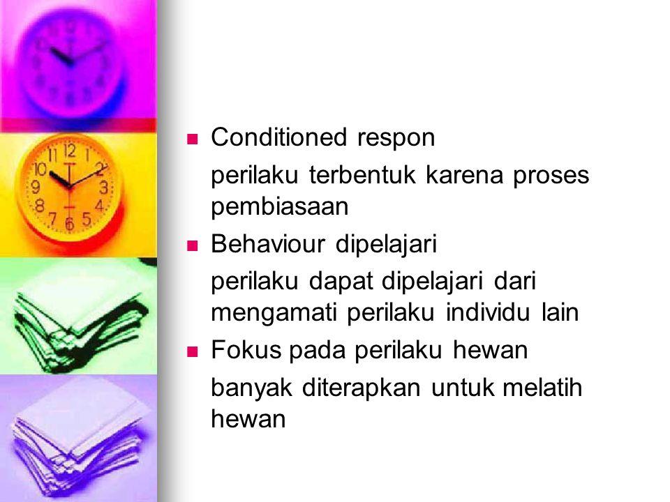 Conditioned respon perilaku terbentuk karena proses pembiasaan Behaviour dipelajari perilaku dapat dipelajari dari mengamati perilaku individu lain Fo