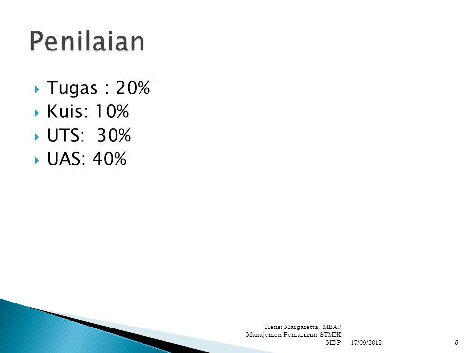  Tugas : 20%  Kuis: 10%  UTS: 30%  UAS: 40% 17/09/2012 Hensi Margaretta, MBA./ Manajemen Pemasaran STMIK MDP5