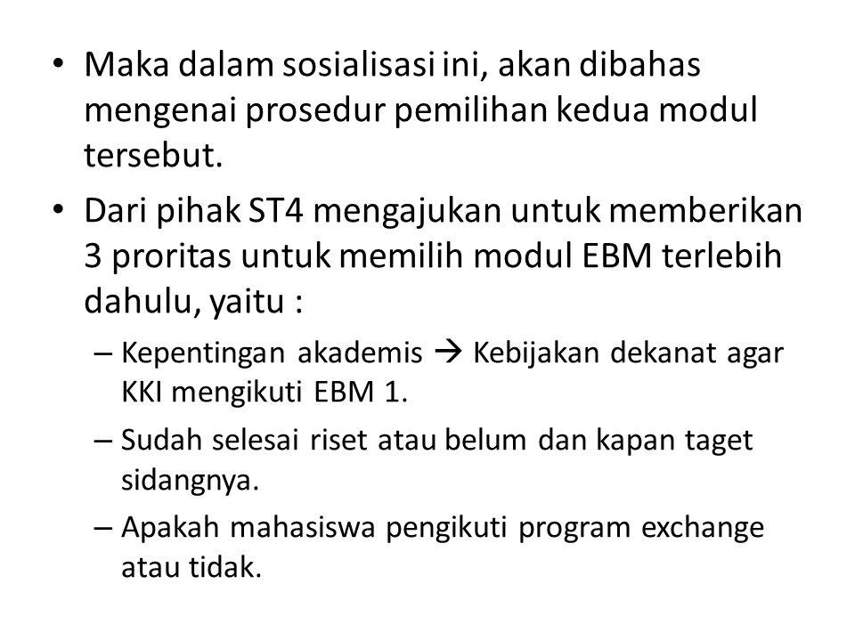 Maka dalam sosialisasi ini, akan dibahas mengenai prosedur pemilihan kedua modul tersebut.