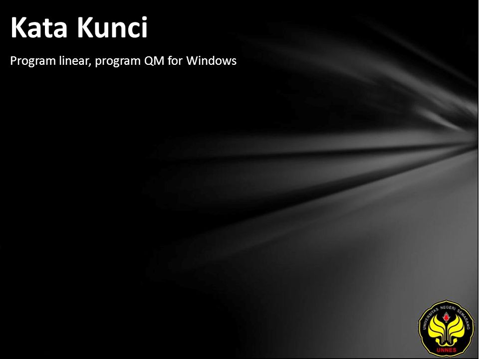 Kata Kunci Program linear, program QM for Windows