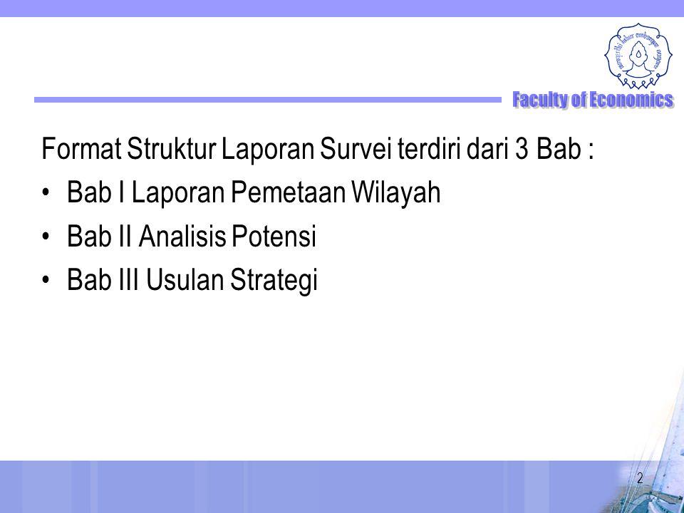 Format Struktur Laporan Survei terdiri dari 3 Bab : Bab I Laporan Pemetaan Wilayah Bab II Analisis Potensi Bab III Usulan Strategi 2