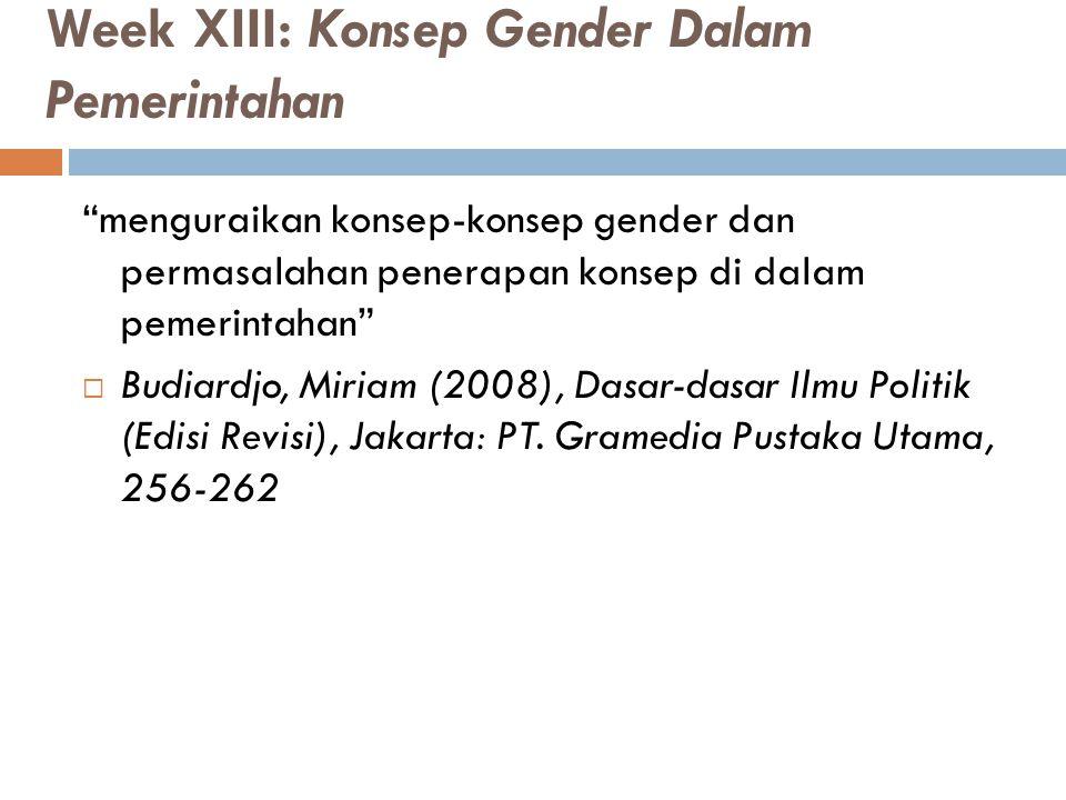 """Week XIII: Konsep Gender Dalam Pemerintahan """"menguraikan konsep-konsep gender dan permasalahan penerapan konsep di dalam pemerintahan""""  Budiardjo, Mi"""