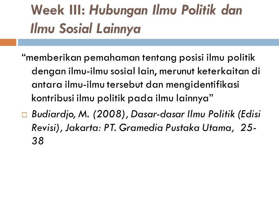 """Week III: Hubungan Ilmu Politik dan Ilmu Sosial Lainnya """"memberikan pemahaman tentang posisi ilmu politik dengan ilmu-ilmu sosial lain, merunut keterk"""