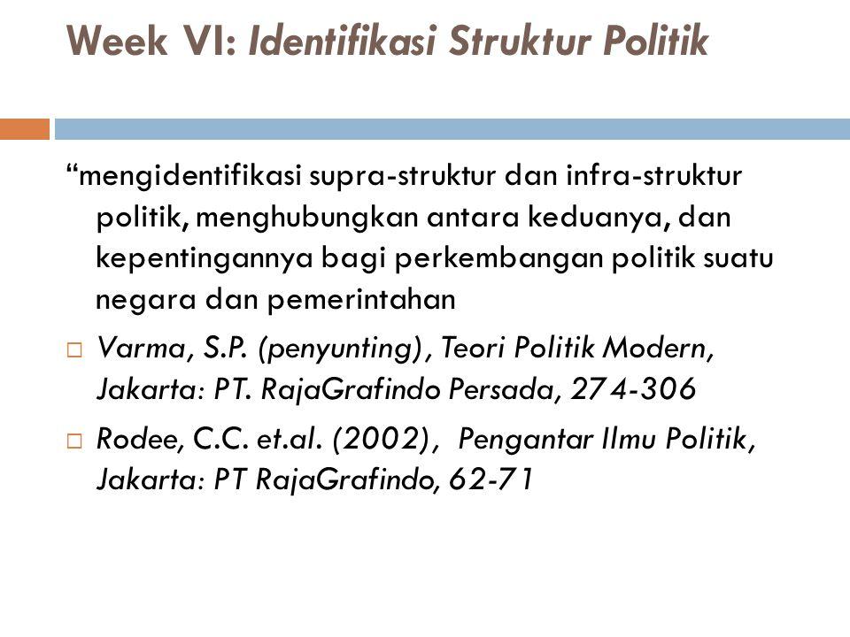 """Week VI: Identifikasi Struktur Politik """"mengidentifikasi supra-struktur dan infra-struktur politik, menghubungkan antara keduanya, dan kepentingannya"""