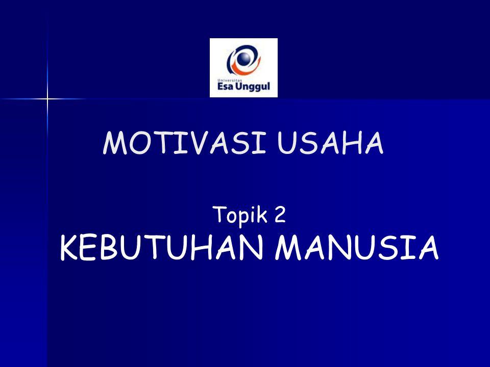 Topik 2 KEBUTUHAN MANUSIA MOTIVASI USAHA