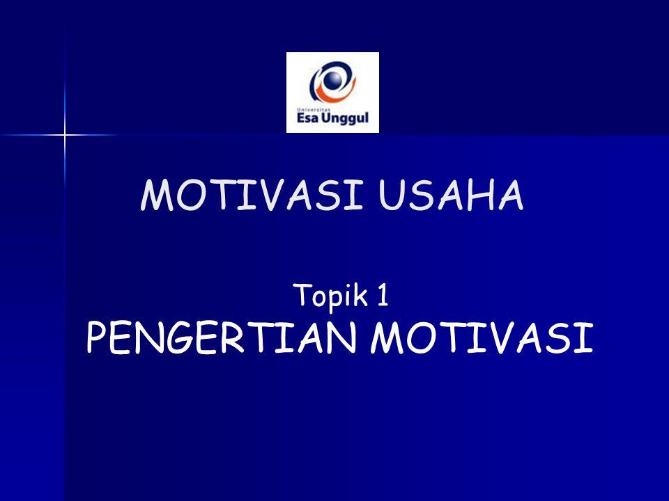 Topik 1 PENGERTIAN MOTIVASI MOTIVASI USAHA