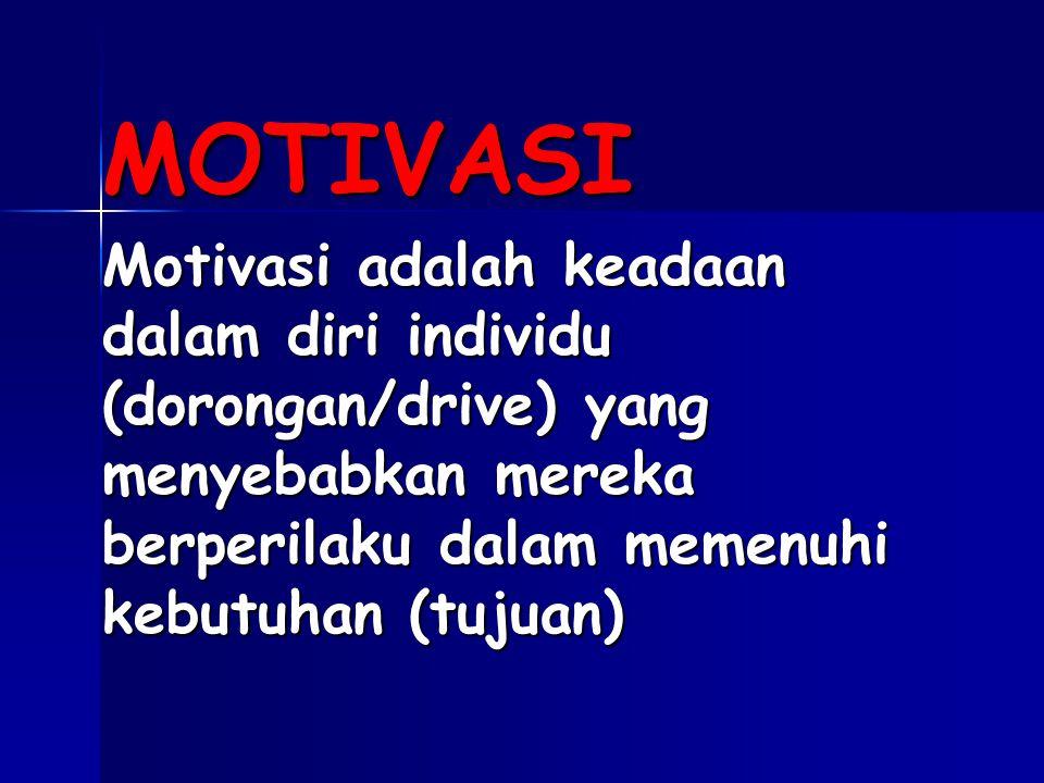 MOTIVASI Motivasi adalah keadaan dalam diri individu (dorongan/drive) yang menyebabkan mereka berperilaku dalam memenuhi kebutuhan (tujuan)