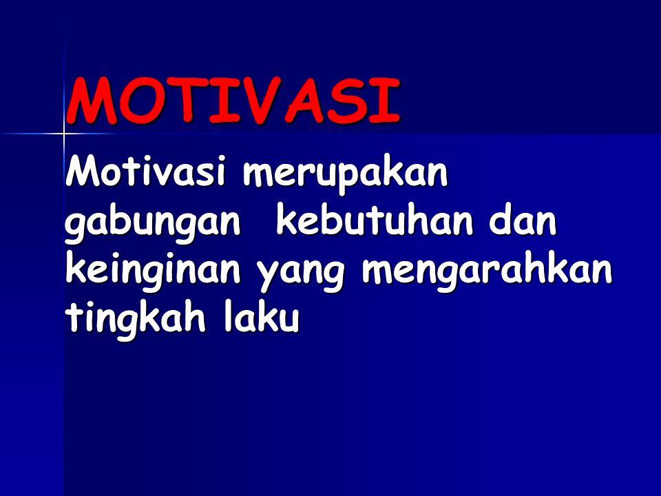 MOTIVASI Motivasi merupakan gabungan kebutuhan dan keinginan yang mengarahkan tingkah laku