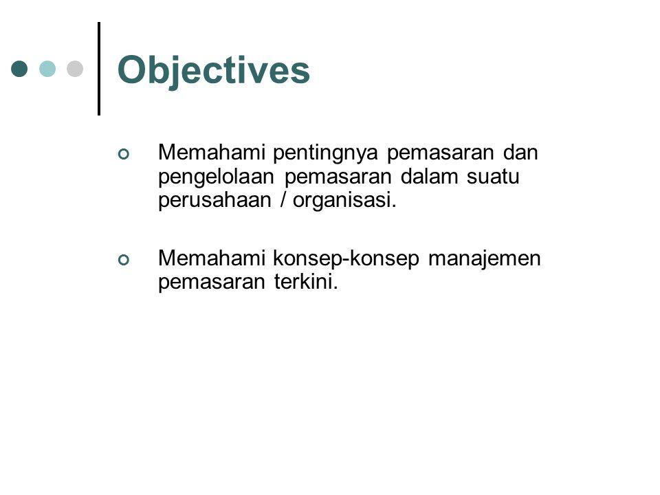 Objectives Memahami pentingnya pemasaran dan pengelolaan pemasaran dalam suatu perusahaan / organisasi. Memahami konsep-konsep manajemen pemasaran ter