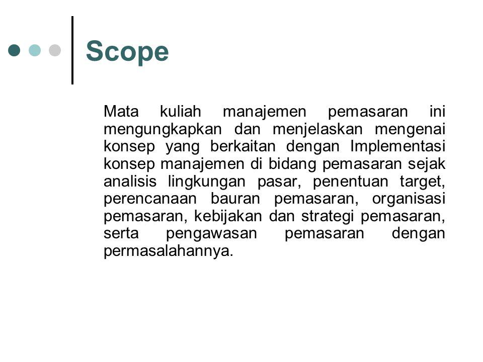 Scope Mata kuliah manajemen pemasaran ini mengungkapkan dan menjelaskan mengenai konsep yang berkaitan dengan Implementasi konsep manajemen di bidang