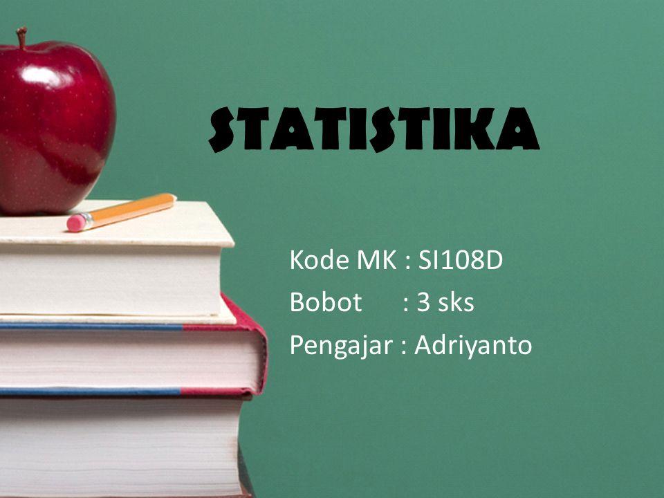 STATISTIKA Kode MK : SI108D Bobot : 3 sks Pengajar : Adriyanto