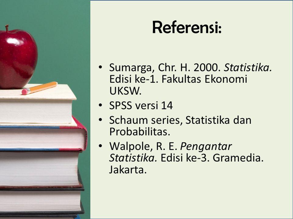 Referensi: Sumarga, Chr. H. 2000. Statistika. Edisi ke-1.