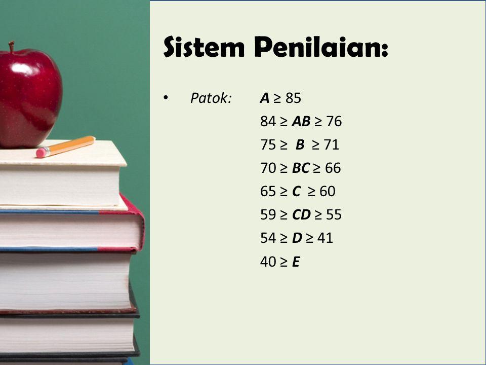Sistem Penilaian: Patok:A ≥ 85 84 ≥ AB ≥ 76 75 ≥ B ≥ 71 70 ≥ BC ≥ 66 65 ≥ C ≥ 60 59 ≥ CD ≥ 55 54 ≥ D ≥ 41 40 ≥ E