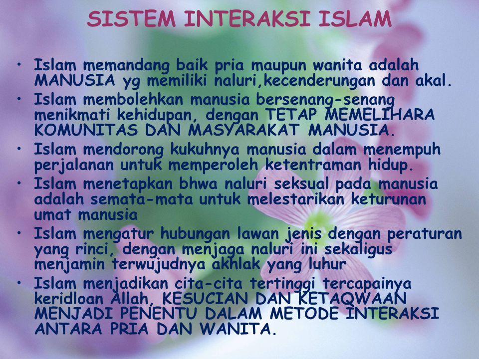 SISTEM INTERAKSI ISLAM Islam memandang baik pria maupun wanita adalah MANUSIA yg memiliki naluri,kecenderungan dan akal. Islam membolehkan manusia ber