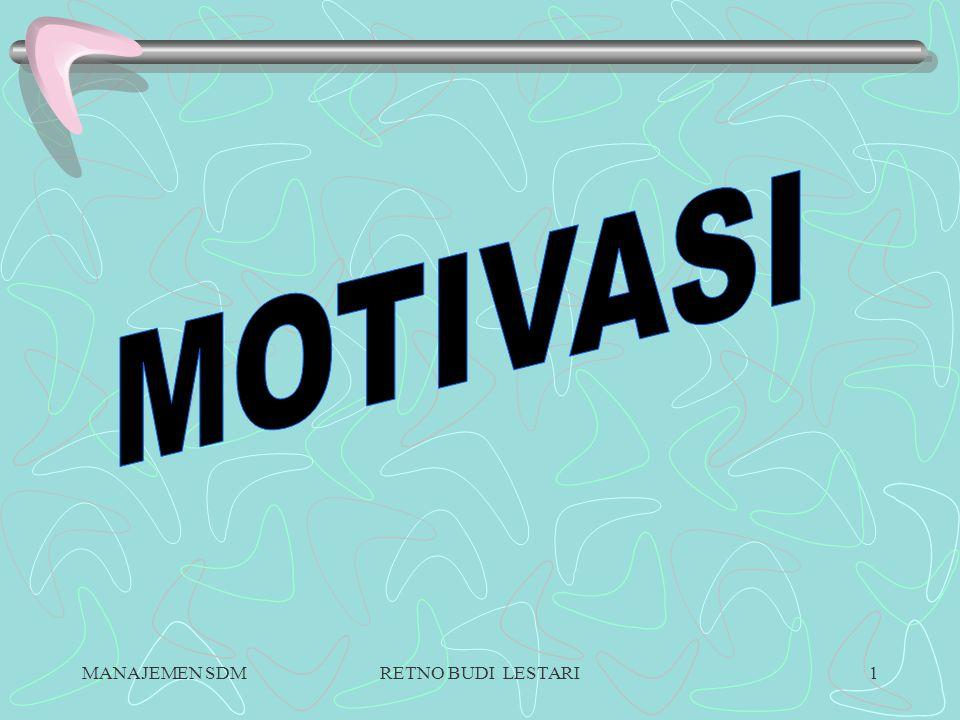MANAJEMEN SDMRETNO BUDI LESTARI11 ALAT-ALAT MOTIVASI  MATERIAL INCENTIVE motivasi yang bersifat materil sebagai imbalan prestasi yg diberikan oleh karyawan Berbentuk uang & barang.