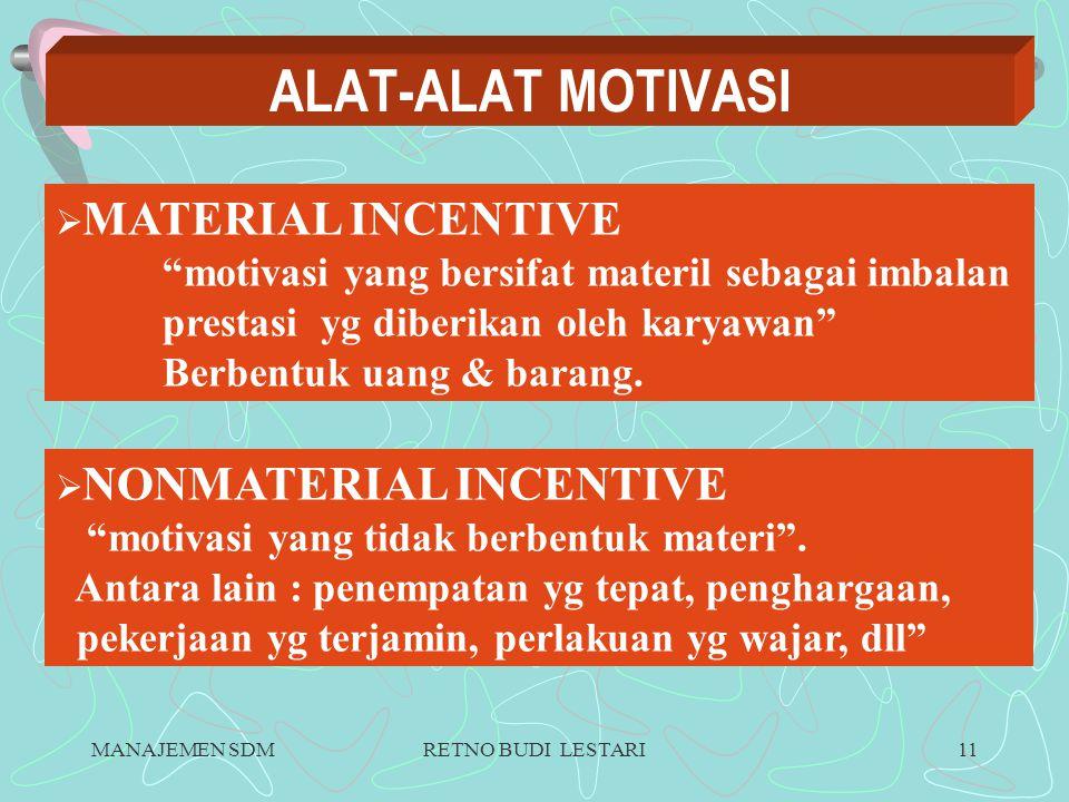 MANAJEMEN SDMRETNO BUDI LESTARI10 METODE MOTIVASI DIRECT MOTIVATION motivasi (materil &nonmateril) yg diberikan secara langsung kepada karyawan utk memenuhi kebutuhan serta kepuasaannya .