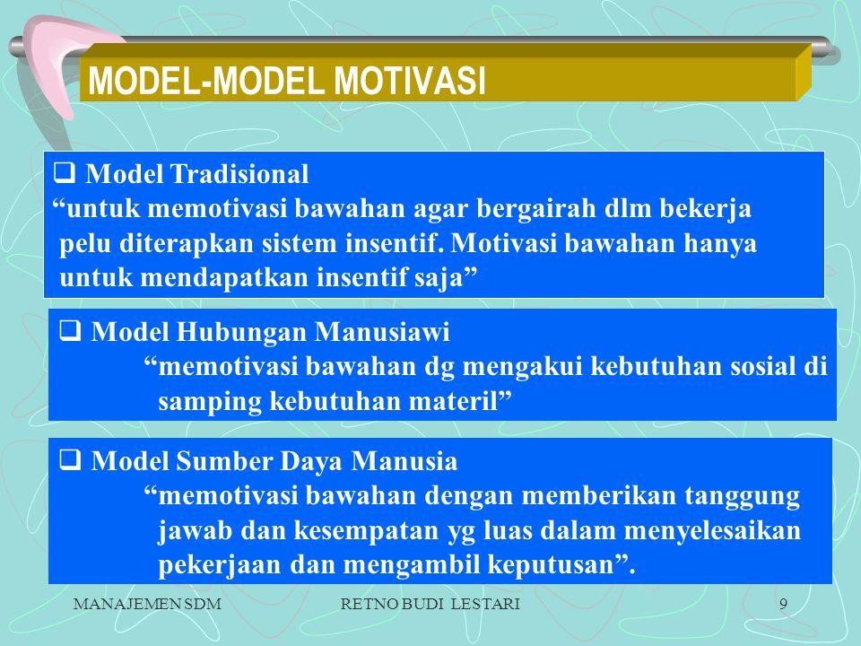 MANAJEMEN SDMRETNO BUDI LESTARI9 MODEL-MODEL MOTIVASI  Model Tradisional untuk memotivasi bawahan agar bergairah dlm bekerja pelu diterapkan sistem insentif.