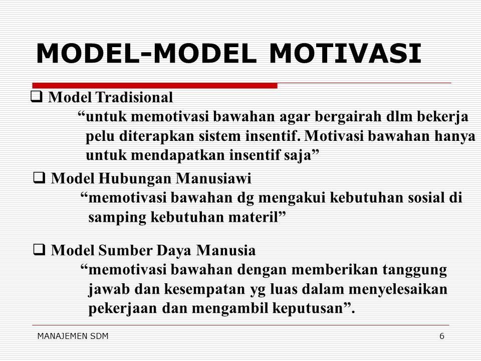 MANAJEMEN SDM6 MODEL-MODEL MOTIVASI  Model Tradisional untuk memotivasi bawahan agar bergairah dlm bekerja pelu diterapkan sistem insentif.