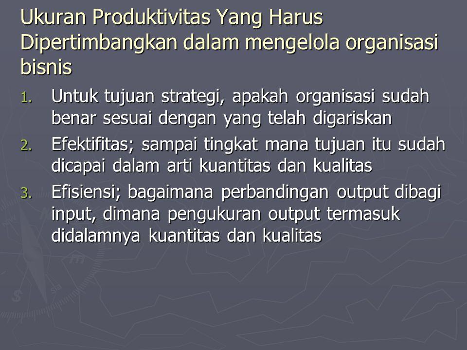 Ukuran Produktivitas Yang Harus Dipertimbangkan dalam mengelola organisasi bisnis 1. Untuk tujuan strategi, apakah organisasi sudah benar sesuai denga
