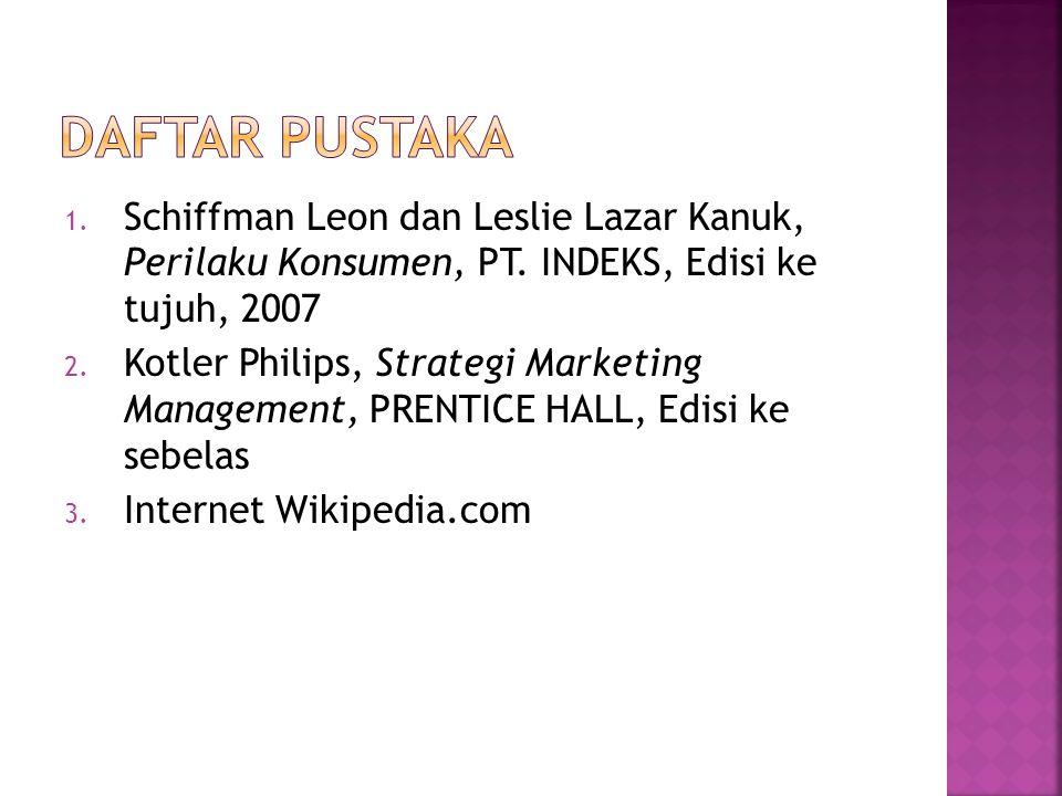 1. Schiffman Leon dan Leslie Lazar Kanuk, Perilaku Konsumen, PT. INDEKS, Edisi ke tujuh, 2007 2. Kotler Philips, Strategi Marketing Management, PRENTI