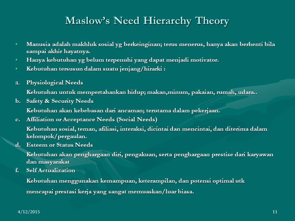 4/12/2015 11 Maslow's Need Hierarchy Theory Manusia adalah makhluk sosial yg berkeinginan; terus menerus, hanya akan berhenti bila sampai akhir hayatnya.Manusia adalah makhluk sosial yg berkeinginan; terus menerus, hanya akan berhenti bila sampai akhir hayatnya.