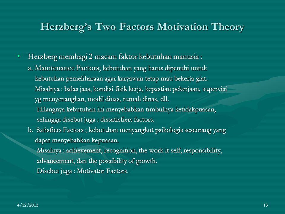 4/12/2015 13 Herzberg's Two Factors Motivation Theory Herzberg membagi 2 macam faktor kebutuhan manusia :Herzberg membagi 2 macam faktor kebutuhan manusia : a.